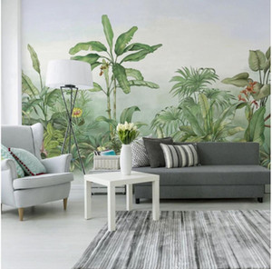 3D stereo American garden TV background wall paper green plant wall cloth living room bedroom decorative mural Wallpapers