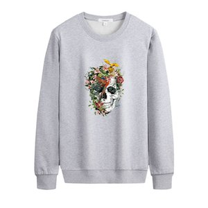 Men DIY Sweatshirts 2020FW Casual Solid Color Long Sleeve Hoodies Unique Printed with Flower Mens Pullover Fashion DIY Clothing