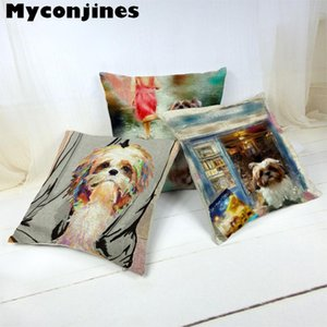 Cartoon Cute Dog Oil Painting Shih Tzu Cushion Cover Pillow Case 17 Inch Linen Decorate Home Car Seat Autumn Forest Cover Pillow
