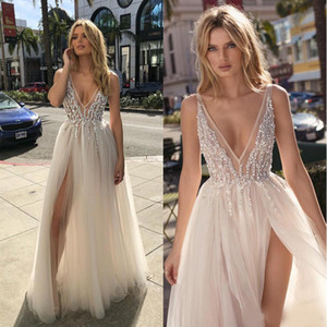 2020 Berta Beach Wedding Dresses Beaded Deep V Neck Bohemian Bridal Gowns A Line Side Split Floor Length Tulle Vestido De Novia