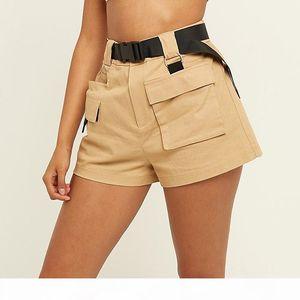Chic Streetwear Women's High Waist Cargo Shorts with Belt.Safari Style Ladies Multi-pocket Short Pants Free shipping