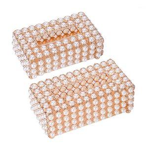 Luxury Simulation Pearl Tissue Box Storage Case Desktop Paper Container Napkin Dispenser for Home Restaurant Car1