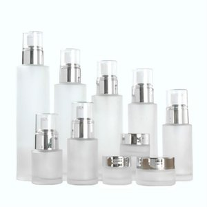 50pcs frosted glass lotion bottles essential oil perfume press pump bottle spray cream jar cosmetic packaging container