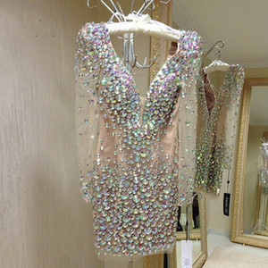 Sexy Crystals Short Prom Dresses Illusion Long Sleeves Beaded Deep V Neck Backless Saudi Arabia Dubai Homecoming Cocktail Party Dress 2021