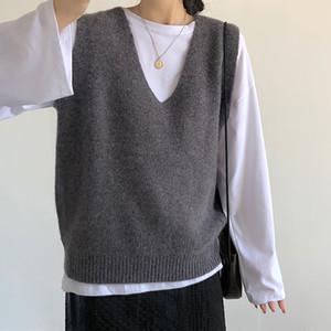 Heliar Solid Outerwear V-Neck canotte senza maniche lavorato a maglia Gilet per le donne inverno