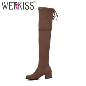 WETKISS Big Size 34-43 Hot Trend Lady Stretch Thigh High Boot Chunky Heel Lace Over Knee Boot Women Shoes Female Long