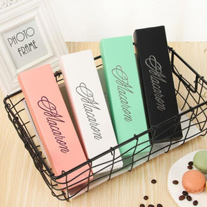 Macaron Box Cake Boxes Home Made Macaron Chocolate Boxes Biscuit Muffin Box Retail Paper Packaging 20.3*5.3*5.3cm Black Pink PPC2465
