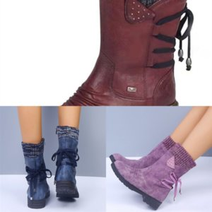 9X8q Autumn winter ankle thick lacing korean high heel boot new women boots chain thick with sponge cake style bottom