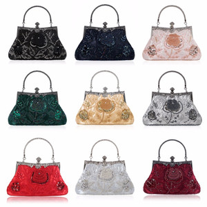 THINKTHENDO Retro Style Beaded Embroidery Evening Bag Clutch Bridal Wedding Party Purse Handbag Women Luxury Q1113