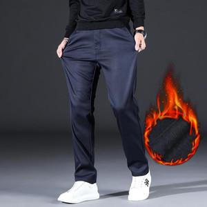 negócio de inverno calças casuais marca de vestuário clássico de lã bordados de SHAN BAO homens grossa aquecer calças de liocel reta finos