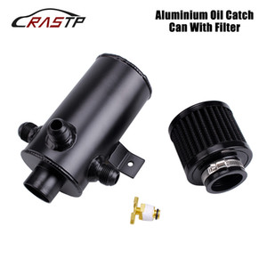 AN10 0.75L Black Silver Oil Catch Can Kit with 3 Port Breather Air Filter Universal Car Racing Modified Replacement Parts OCC036