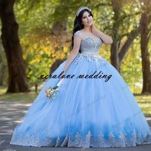 New Sky Blue Princess Quinceanera Dress Ball Gown Bead Lace Applique Vestido Mexicano Style Sweet 15 Prom Gown