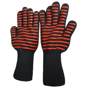 Oven Gloves Heat Resistant Bbq Long Glove Kitchen Barbecue Fireproof Gloves For Extra Forearm Protection