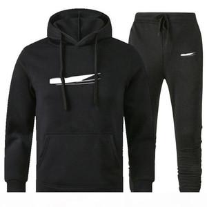 Hommes Designer Sweats à Sweats Sweats Sweats Set Capuche Support Hommes Sweat Cuisson Patchwork Noir Couleur Solid 2020 Automne Hiver 2pcs Sweats Sportsuit 3XL