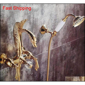 Golden Wall Mounted Swan Handles Swan Bath Tub Shower Filler Faucet With Handshower 2 Holes New Dvdoy