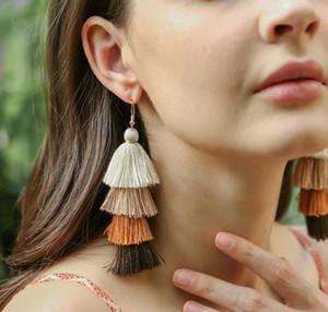 Monili caldi Bohemian frangia lunga discesa multistrato orecchini di goccia di modo delle donne ciondola tessuto di seta orecchini nappa etnica regalo
