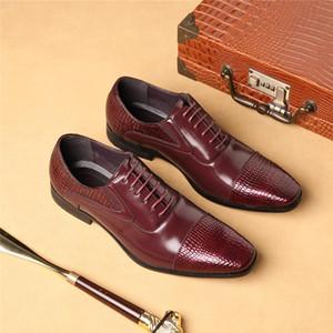 Yomior Italian Vintage New Hommes Chaussures à lacets Printemps / Automne bout carré Chaussures Robe formelle Flats mariage d'affaires Brogue
