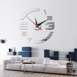 2020 3D Wall Clock Mirror Wall Stickers Creative DIY Wall Clocks Removable Art Decal Sticker Home Decor Living Room Quartz Needle