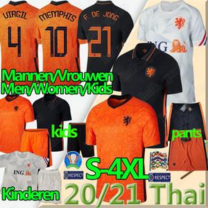 20 21 هولندا لكرة القدم بالقميص F. DE JONG WIJNALDUM هولندا فيرجيل STROOTMAN ممفيس S-4XL قمصان الرجال والنساء والأطفال كرة القدم السراويل زي