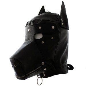 Маска Кожа Cosplay Fetish Dog Hood Headgear Sexy Head Harness Бандаж Сдержанность взрослых Sm игры, Секс игрушки для женщин Мужчины Гей пару S1017