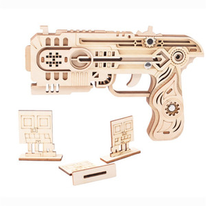 Laser Cutting DIY 3D Wooden Puzzle Woodcraft Assembly Kit Rubber Band Gun for Kids Adults Interactive Game Christmas Gift