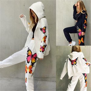 Womens Butterfly Printing наборы моды с длинным рукавом кардиган молния с капюшоном Tops Bashs костюмы дизайнер женские весна новые повседневные свободные трексеи