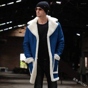 Neck Mäntel Langarm-Plus-Velvet-Winter-lange Mäntel Männlich Warm Tasche Kleidung Herren Lambswool Revers
