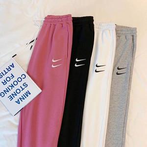2020 pantaloni ricamati delle donne autunno 2020 pantaloni larghi femminili di sport pantaloni sottili Stacked Pantaloni sportivi leggings di jeans