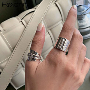 Foxanry 925 Sterling Silver Width Rings New Fashion Vintage Punk Geometric Handmade Irregular Jewelry Party Gifts for Women