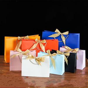 Bolsa de embalagem quadrada de embalagem cor sólida arco fita de seda papel embalagem pacote presentes festa cerimônia bolsas lindas 2 3kz n2
