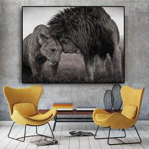 Love Kiss Between Lions Black and White Canvas Art Painting Posters and Prints Scandinavian Wall Art Picture for Living Room