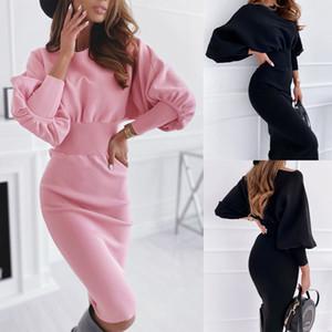 Fuedage sólido de color rosa vestido de mujer elegante del cuello de O Linterna de manga larga Otoño Invierno Vestidos Mujer alta cintura delgada Midi Vestidos