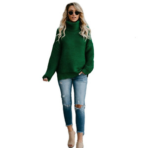 2021 New Turtleneck Sweater Femme Fall Winter Warm Long Sleeve Black Pullover Casual Women Knitted Tops Large Size Clothes Wva2