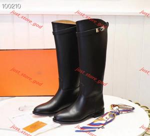 Hermes Avrupa ve Amerika Lady Tokaları Martin Çizmeler Hakiki Deri Kelly Kadın Lin456 Düz Çizmeler Knight Chaussure Mujer Artı Boyutu 41 42