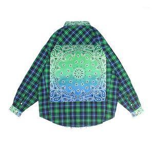 NAGRI Bandana Plaid Street Shirt Men Long Sleeve Checkered Hip Hop Men's Shirts Streetwear Clothes M L XL1