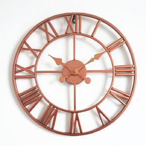 Retro Metal Wall Clock Silent Clock Creative Iron Art Roman Number Hanging Clocks Living Room Wall Art Home Decor