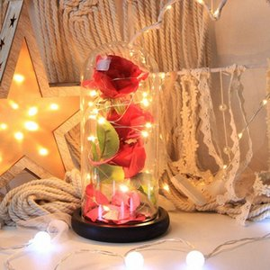 LED Light Birthday Gift The Beast Red Rose Fallen Petals In A Glass Dome On A Plastic Base For Christmas Valentine's Gifts mVtd#