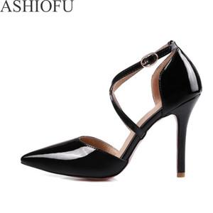 Ashiofu Женские 10 см Высокие каблуки Насосы X-Relds Party Prom Обувь Обувь Свадебная Патентная Кожа Мода Вечерние Клуб Суть Туфли
