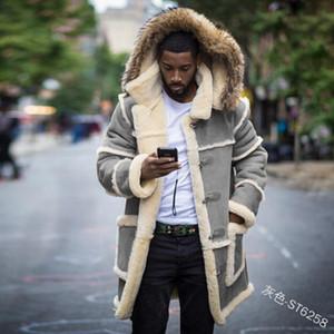 Мужчины меховые искусственные пальто зимние меховые футеровки теплые куртки повседневные мужчины с капюшоном Partwork Parka длинная зимняя куртка