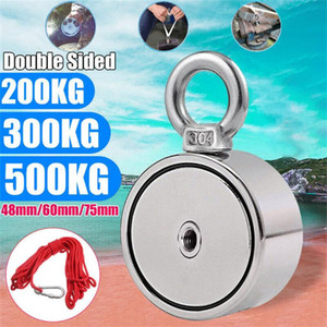 200 300 500KG Super Strong Double Side Pulling Force Round Neodymium Metal Magnet Detector Fishing Kit+10M Rope Strong Magnetic