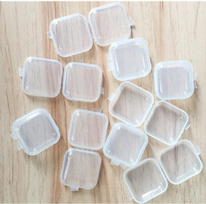 Square Storage Containers Mini Clear Plastic Empty Case with Lids Jewelry Earplugs Storage Box Memory Card Bins Easy to Carry