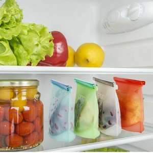 1000ml Reusable Silicone Food Preservation Bag Fridge Food Storage Container Freezing Heating For Kitchen Food Fresh Bag EWF1243