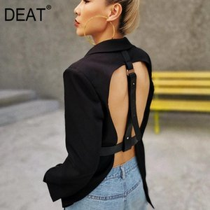 DEAT 2020 New Summer Fashion Sexy Hollow Out Sashes V Neck Double Breasted Black Slim Backless Long-sleeve Blazer Women SB261