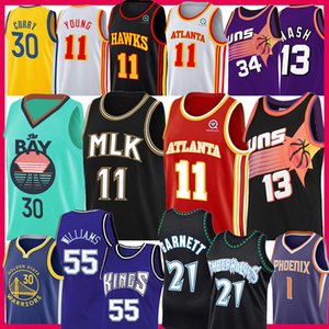 Stephen Trae Kevin Garnett Curry giovane Jason Williams Jersey Barkley Steve Nash Devin Booker Atlanta