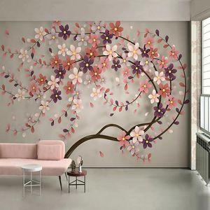 배경 화면 사용자 정의 3D 포 벽지 꽃 나무 벽 그림 거실 레스토랑 침실 큰 벽화 종이 꽃