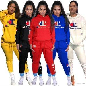 Женщины Tracksuit Два Piece Set дизайнерского бренда напечатаны буквы с длинным рукавом Карманный Толстовки Брюки Осень Sportwear Плюс Размер Женская одежда