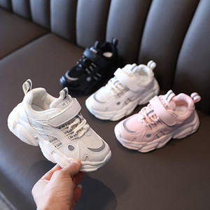 Child Mesh Thick Shoes Patchwork Sneakers 2021 Spring New Kids Non-slip Casual Shoes Boy Girl Comfortable Walk Run Shoes Size 26-36 #3-2068