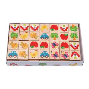 Novo estilo de madeira dos desenhos animados Fruit animal Reconhecer Blocos Dominoes Jigsaw Montessori Children Aprendizagem Educação enigma Toy 201009