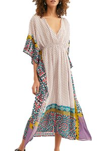 YouKD Summer Print Floral Long Kaftan Bohemian Beach Swimsuit Cover Up Plus Size Dress for Women