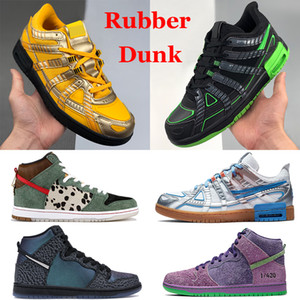 TOP New White x Rubber Dunk Fashion Casual shoes University Yellow Black Volt silver blue Photo Blue Cat Dao Walker men women Sneakers